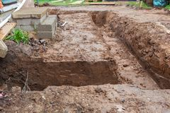 Dug foundations. Dug and prepared foundations around the house, selective focus royalty free stock image