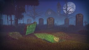 Dug grave at scary night cemetery Stock Photo