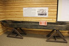 Dug out Canoe of Mississippian Culture display in Etowah Mound Museum Royalty Free Stock Images