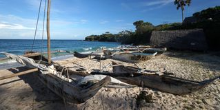 Dug out fishing boats on the Indian Ocean royalty free stock photo