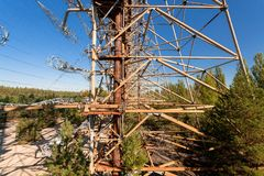 Duga at Chernobyl -2. Large antenna field. Soviet radar system Duga at Chernobyl nuclear power plant. ABM missile defense. Antenna field, over-the-horizon radar stock photo