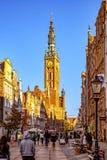 Długa pas ruchu ulica w Gdańskim Obrazy Royalty Free