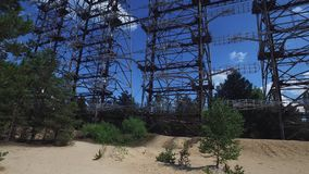 Duga Radar Array Famous Russian Woodpecker Over-the-horizon System from Cold War. Duga Radar Array System in Chernobyl Exclusion Zone, Ukraine. Huge Soviet stock video