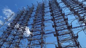 Duga Radar Array Huge Soviet System From Cold War. Chernobyl Exclusion Zone, Duga radar array known as Russian woodpecker, Soviet system for missile detection stock video