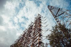Duga - Soviet over-the-horizon OTH radar system. Duga-3 Russian Woodpecker - antenna complex, military object of USSR stock photos