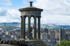 Dugald Stewart Monument in Edinburgh. Dugald Stewart Monument with town of Edinburgh in background royalty free stock image
