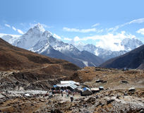 Dughla, Nepal. Looking down toward Dughla while hiking to Lobuche Royalty Free Stock Images