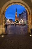 Długi rynek w Gdańskim przy nocą Fotografia Royalty Free