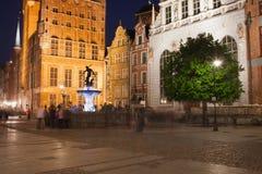 Długi rynek w Gdańskim Starym miasteczku nocą Fotografia Royalty Free