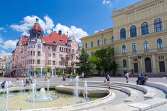 Dugonics Square in Szeged. SZEGED, HUNGARY - JUNE 21. 2015 - Fountain in Dugonics Square in the city of Szeged Stock Photo