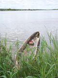 Dugout Canoe on the Zambezi River in Zambia Royalty Free Stock Photos