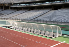 Dugout and seats in stadium Royalty Free Stock Photography