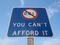 DUI Pennsylvania Sign. DUI traffic sign in Pennsylvania. You can't afford it Stock Images