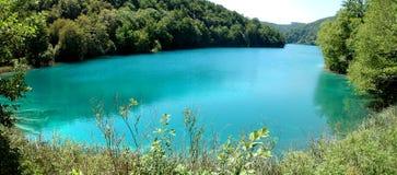 Duidelijk blauw water en groen bosplitvice-Meren Nationaal Park Stock Foto's