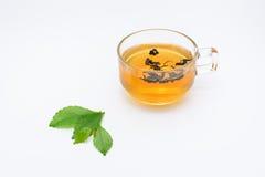 Duidelijk die glas thee en theebladen op wit wordt geïsoleerd Royalty-vrije Stock Foto's