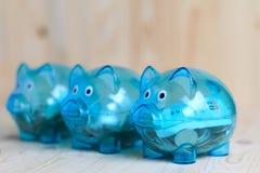 Duidelijk spaarvarken met 3 varkens royalty-vrije stock afbeeldingen