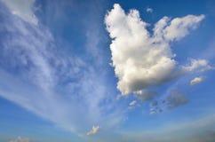Duidelijke blauwe hemel met witte wolk (Behang, achtergrond, kunstwerk, abstract ontwerp) Stock Foto's