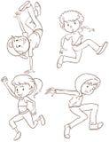 Duidelijke schetsen van de hiphopdansers Stock Afbeeldingen