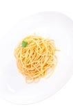 Duidelijke spaghetti die in olijfolie geworpen Royalty-vrije Stock Afbeelding