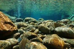 Duidelijke water van het rivierbed van rivier het onderwaterrotsen stock foto