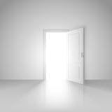 Duidelijke witte ruimte met geopende deur voor de nieuwe wereld stock illustratie
