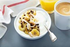 Duidelijke yoghurt met bananen, chocolade en kokosnoot stock foto's