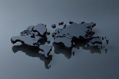 Duidelijke zwarte kaart van de wereld Stock Foto