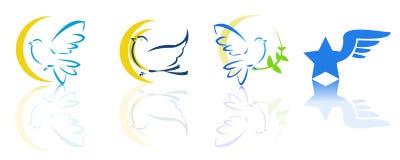 Duif en vliegende emblemen Stock Afbeelding