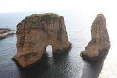 Duifrotsen in Beiroet Royalty-vrije Stock Foto's