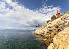 Duik in het Adriatische overzees Royalty-vrije Stock Foto