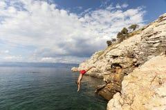 Duik in het Adriatische overzees Royalty-vrije Stock Foto's