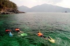 Duik langs snorkelen. Stock Foto's
