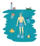 Duikende Jongen Onder water Vector illustratie vector illustratie