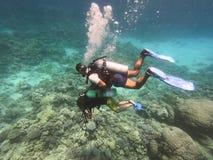 Duikende mensen onderwater in overzees met rond koralen en vissen, cursus voor beginners van scuba-duiker de open wateren met pro royalty-vrije stock afbeeldingen