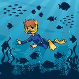 Duiker Boy Undersea royalty-vrije illustratie