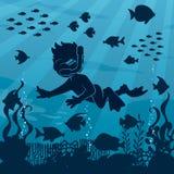 Duiker Boy Undersea 4 vector illustratie