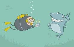 Duiker en haai vector illustratie