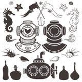 Duiker en onderzeeër Uitstekende hand getrokken elementen in zeevaart vector illustratie