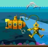 Duiker en onderzeeër vlak stock illustratie