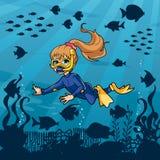 Duiker Girl Undersea royalty-vrije illustratie
