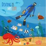 Duiker onderwaterillustratie royalty-vrije illustratie
