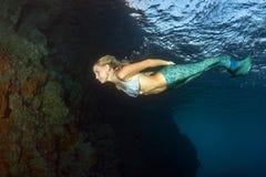 Duiker van de blonde de mooie Meermin onderwater Royalty-vrije Stock Foto's