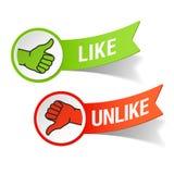 Duim boven en beneden gebaren - als en in tegenstelling tot Royalty-vrije Stock Foto