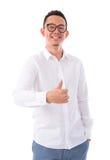 Duim omhoog Aziatische mens Royalty-vrije Stock Afbeeldingen