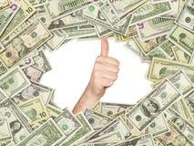 Duim omhoog binnen het kader van Amerikaanse dollarsrekeningen die wordt gemaakt Alle nominale rekeningen beide kanten Royalty-vrije Stock Fotografie