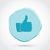 Duim omhoog blauw pictogram Stock Afbeeldingen