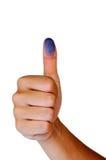 Duim omhoog met Blauwe Vingerafdruk Stock Fotografie