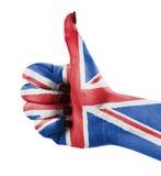 Duim omhoog voor Groot-Brittannië Stock Foto
