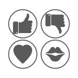 Duim op en neer, hart, lippen grijze pictogrammen Stock Fotografie