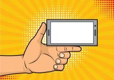 Duim op het houden van een smartphone met het lege scherm Stock Afbeelding